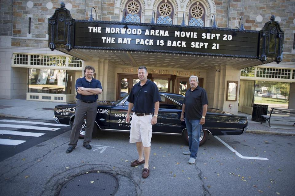 From left, Jerry Kelleher and Brendan King, with his 1967 Dodge Coronet R\T, are co-producers of a documentary on the Norwood Arena Speedway. George Savary, a 1970 track champion, joins them at the Norwood Theatre.